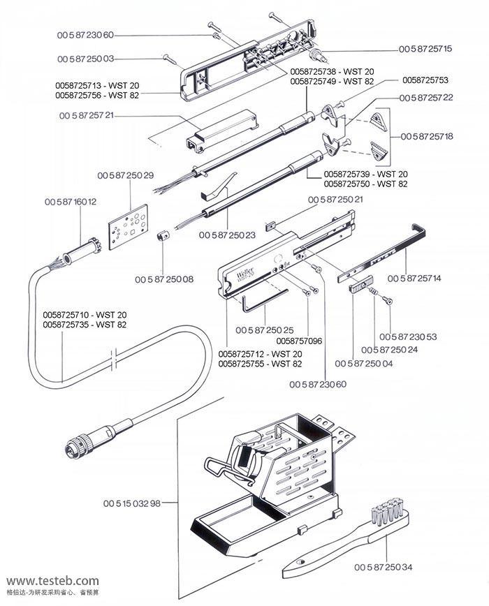 WST82热剥钳手柄部件图