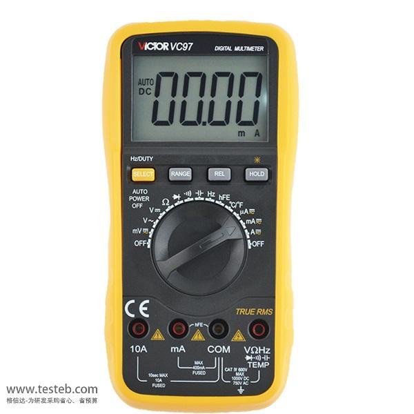 胜利万用表vc97数字万用表测电流电阻电容频率温度